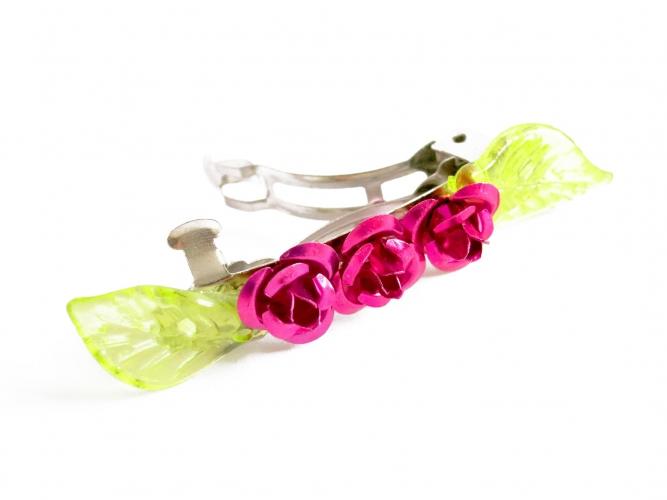 Kleine Haarspange mit grünen Blättern und Rosen - Haarspange Haarschmuck