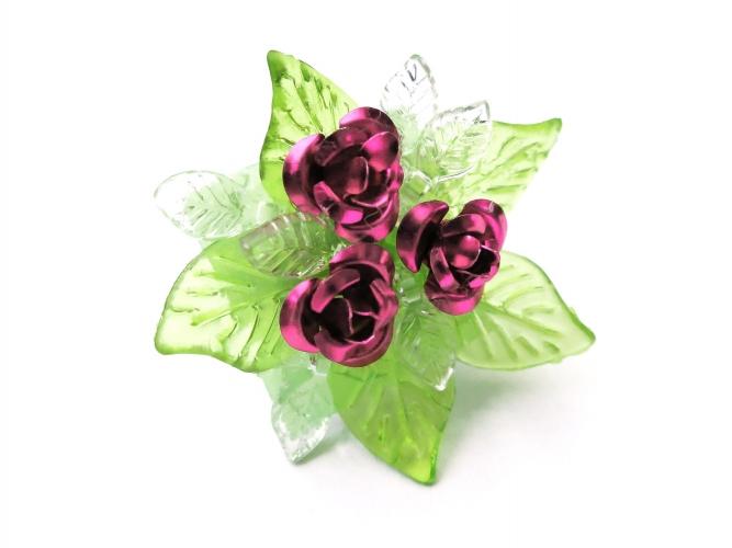Dirndl Ring mit pinken Rosen und grünen transparenten Blättern - Trachtenschmuck Dirndlschmuck