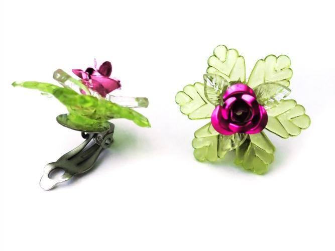 Rosen Ohrclips mit Blatt Farbwahl Dirndl Ohrclips mit Rose - Trachtenschmuck Dirndlschmuck