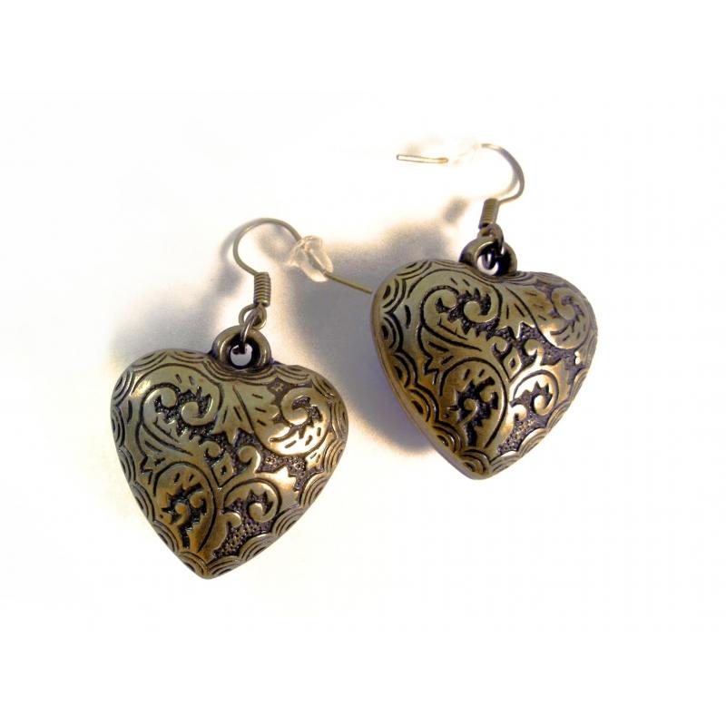 Leichte bronze Herz Ohrhänger Trachtenherz Ohrringe mit filigranem Blumenmuster aus Acryl - Trachtenschmuck Dirndlschmuck