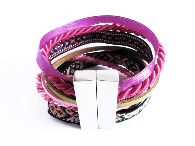 Pink schwarzes Stoffarmband mit breitem Magnetverschluss - Wickelkarmband aus Stoff