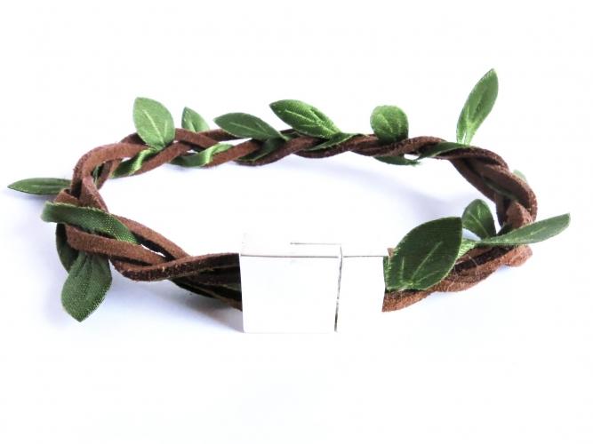 Grün braunes Stoffarmband mit hellsilberfarben Magnetverschluss - Wickelkarmband aus Stoff