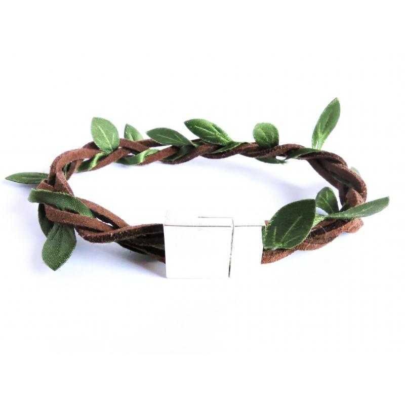 Grün braunes Stoffarmband mit hellsilber Magnetverschluss - Wickelkarmband aus Stoff
