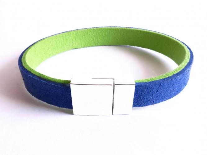 Blau grünes synthet. Lederarmband mit Magnetverschluss - Veganes Lederarmband