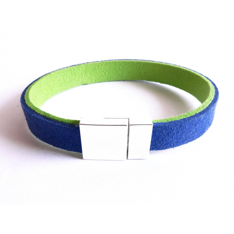 Blau grünes Stoffarmband mit hellsilber Magnetverschluss - Armband aus Wildlederimitat