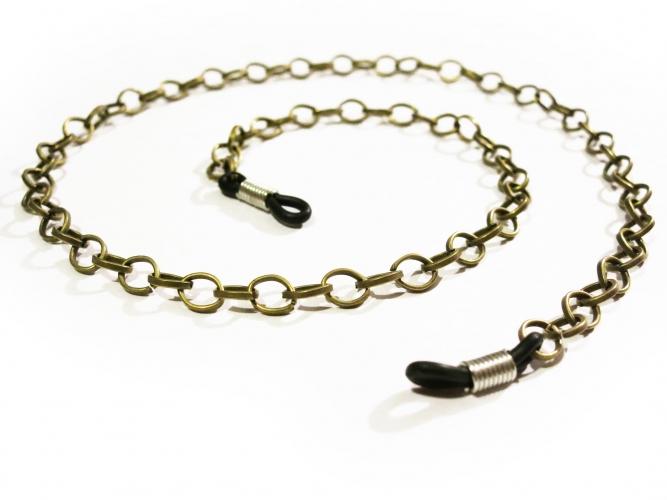 Bronzefarbene Brillenkette aus Gliederkette mit großen Ösen - Accessoire Brillenkette