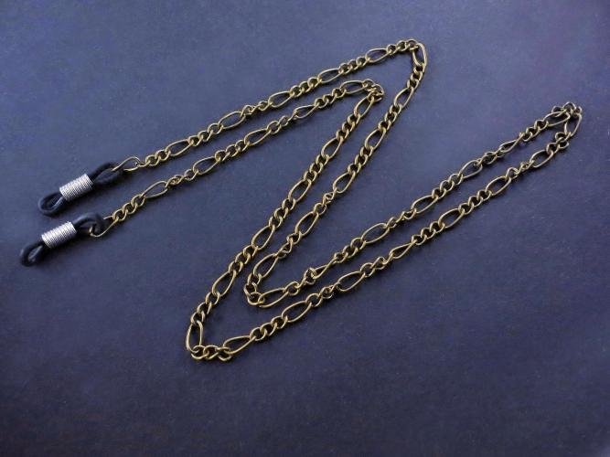 Bronzefarbene Brillenkette aus Figarokette - Accessoire Brillenkette