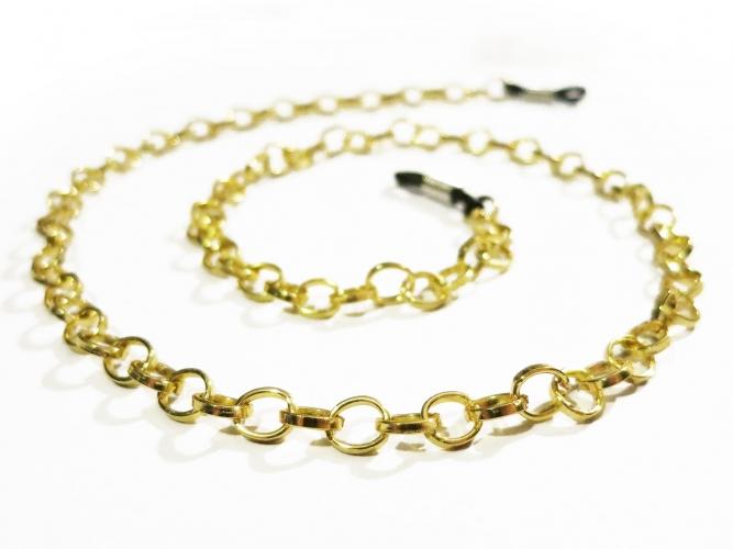 Goldfarbene Brillenkette aus Aluminium mit großen Ösen - Accessoire Brillenkette