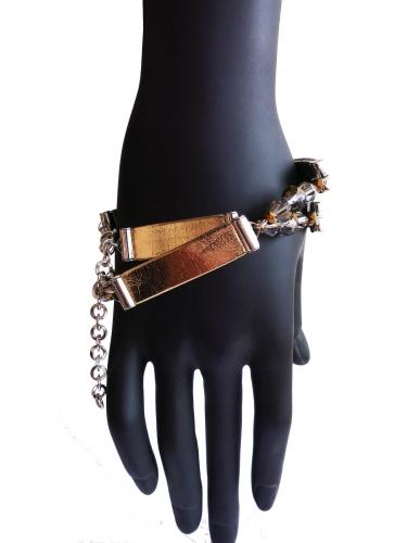 Gold silber Lederarmband von zwei Seiten zu tragen Kunstleder - Veganes Lederarmband