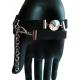 Schwarzes Lederarmband mit schillerndem Kristallglas und Kunstleder - Veganes Lederarmband