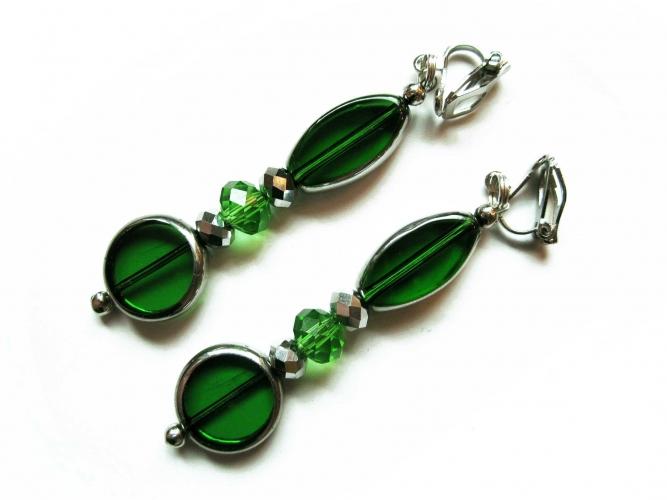Lange Grüne Ohrclips Ohrhänger aus Glas mit Silberrand