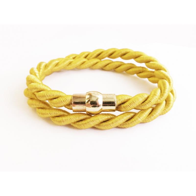 Goldgelbes Wickelarmband mit gold Magnetverschluss - Wickelarmband aus Stoff