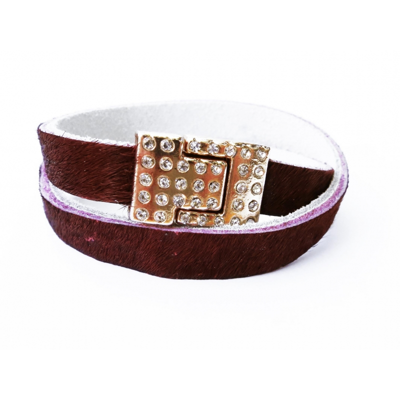 Bordeaux Fellarmband mit rosegold Strass Magnetverschluss - Wickelarmband Lederarmband