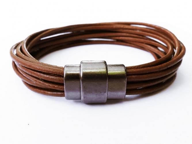 Braunes Lederarmband mit gunmetal Magnetverschluss Männerarmband - Lederarmband Männer Schmuck