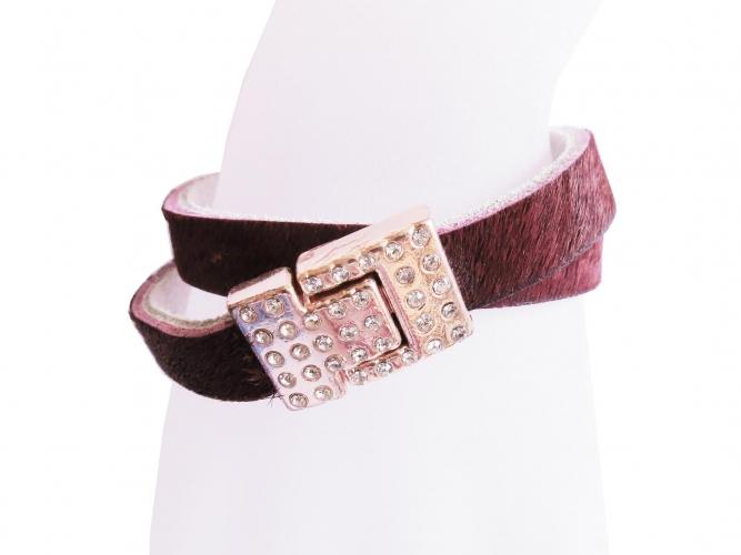 Bordeaux Fellarmband mit rosegoldfarben Strass Magnetverschluss - Wickelarmband Lederarmband
