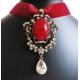 Rotes Halsband bzw. Kropfband aus Samt mit rotem Strassanhänger - Trachtenschmuck Dirndlschmuck