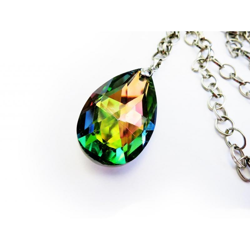 Irisierender vitrail Glastropfen an silberfarbener Gliederkette - Lange Kette mit Glasanhänger