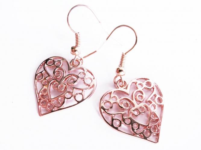 Filigrane Herz Ohrringe in rosegoldfarben oder antikgoldfarben