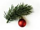 Weihnachts Haarspange mit kleinem Tannenzweig und Weihnachtskugel - Weihnachten Haarschmuck