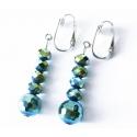 Grün schillernde Ohrhänger / Ohrclips aus Glas