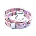 Geblümtes rosa Stoffarmband mit silberfarben Schiebeperlen - Wickelkarmband aus Stoff