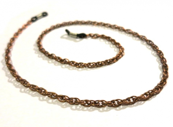 Kupferfarbene Brillenkette aus Doppelankerkette - Accessoire Brillenkette