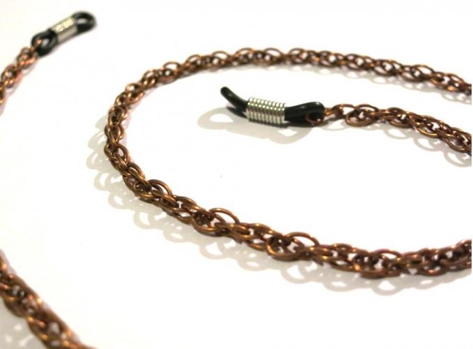 Kupfer Brillenkette aus kupferfarbener Gliederkette - Accessoire Brillenkette