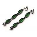 Lange Ohrhänger / Ohrclips aus grünem Glas
