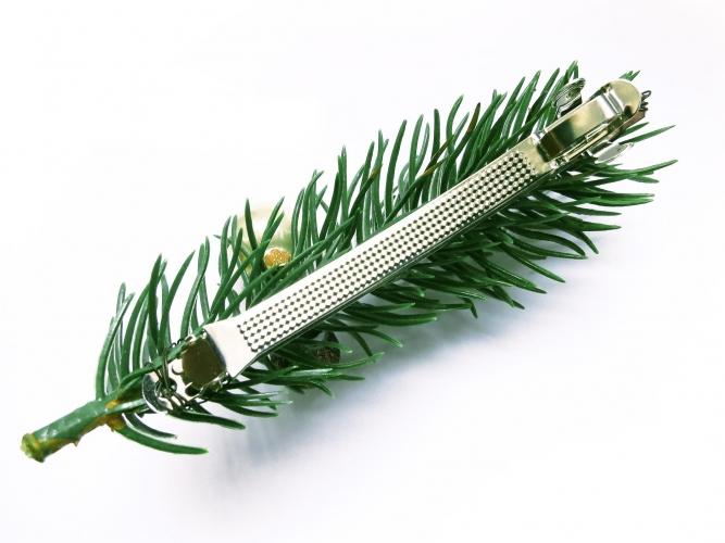 Kleine grün, pink blaue Weihnachts Haarspange mit Tannenzweig und Weihnachtskugel - Weihnachten Haarschmuck