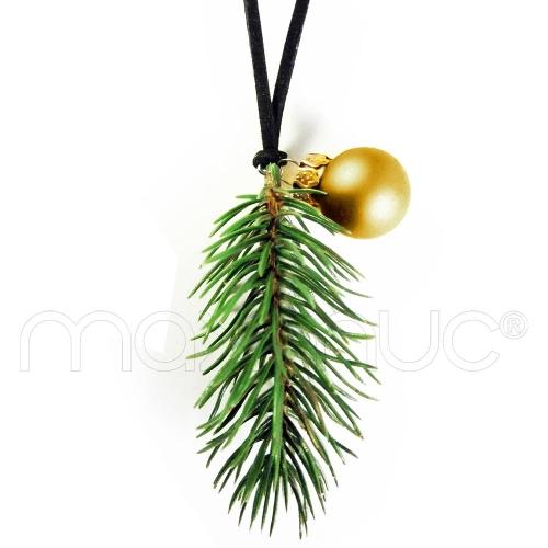 Weihnachtliche Kette mit grünemTannenzweig und Christbaumkugel - Lange weihnachtliche Kette