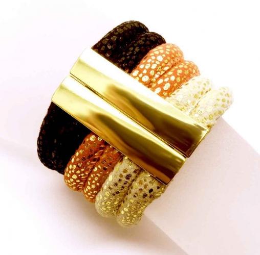 Schwarz rot goldfarbenes Armband mit Magnetverschluss - Veganes Lederarmband