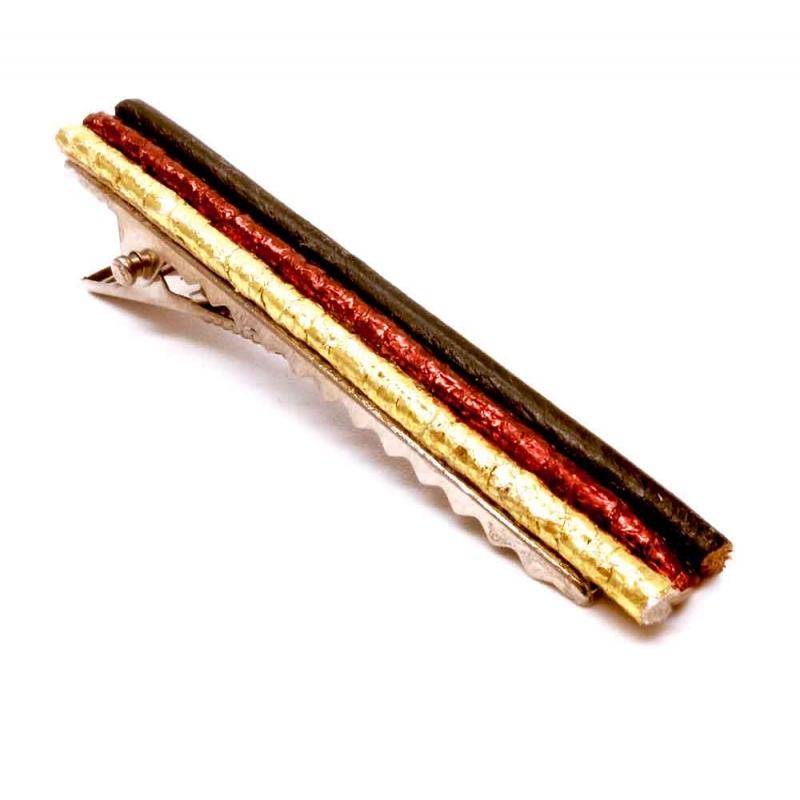 Haarklammer in schwarz rot goldfarben Fußball Schmuck - Haarspange Haarschmuck
