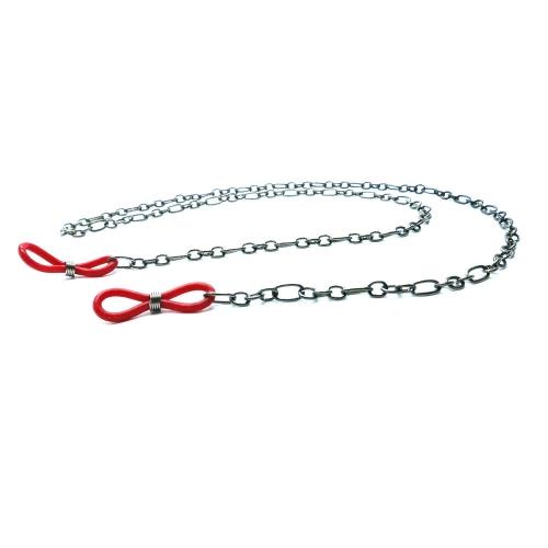 Gunmetal Brillenkette mit roten Gummiösen - Accessoire Brillenkette