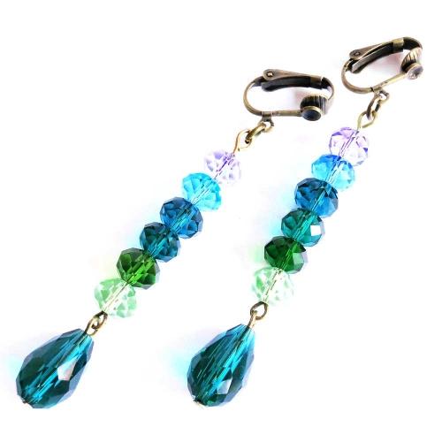 Bronzefarbene Ohrhänger / Ohrclips mit grüntönigem Glas - bunter Glasschmuck