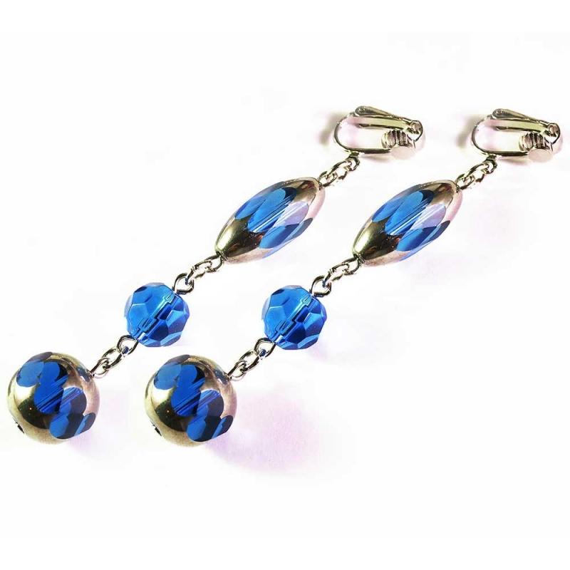 Lange blaue Ohrclips dreigliedrige Ohrhänger CLIPS aus bauchigen Kristallglasperlen mit Silberrand
