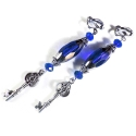 Lange Ohrhänger / Ohrclips in kobaltblau mit silberfarbenem Schlüssel