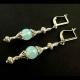 Silber opalfarbene Ohrhänger Ohrringe aus Opalglas und Tibetsilber