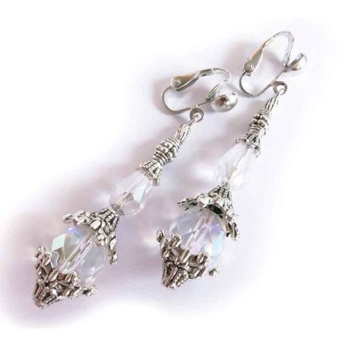 Lange Ohrclips in silber und schillerndem Kristallglas - Barocke Ohrhänger - Trachtenschmuck Dirndlschmuck