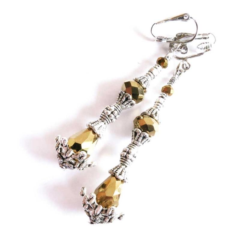 Gold- silberfarbene Ohrhänger / Ohrclips aus Metall und Glas