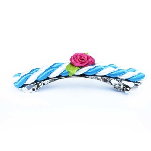 Blau-weiße Haarspange mit pinker Rose - Haarspange Haarschmuck