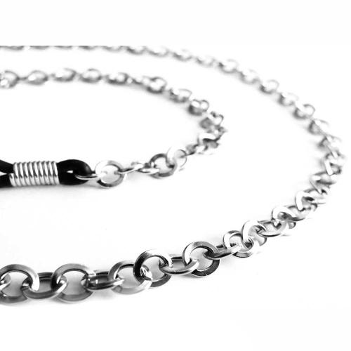 Silberfarbene Brillenkette mit runden Ösen - Accessoire Brillenkette