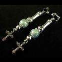 Silberfarben türkis Kreuz Ohrclips Ohrhänger mit irisierender Glasperle