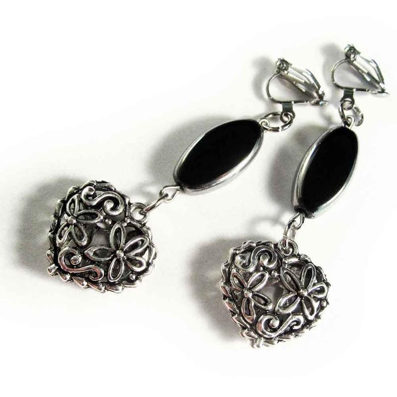 Ohrhänger / Ohrclips mit Trachtenherz und ovaler Perle - Trachtenschmuck Dirndlschmuck