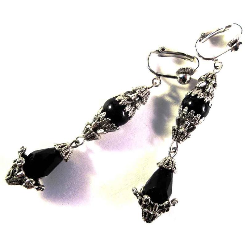 Lange schwarz silber Ohrclips Ohrhänger - schwarz silber Glasschmuck