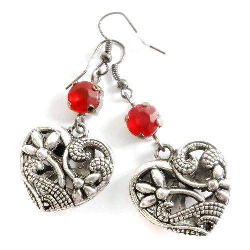 Ohrhänger mit Herz in gunmetal silberfarben und rot