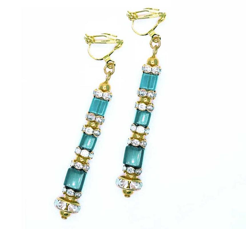Ohrclips Ohrhänger mit Strass in blau- und goldfarben