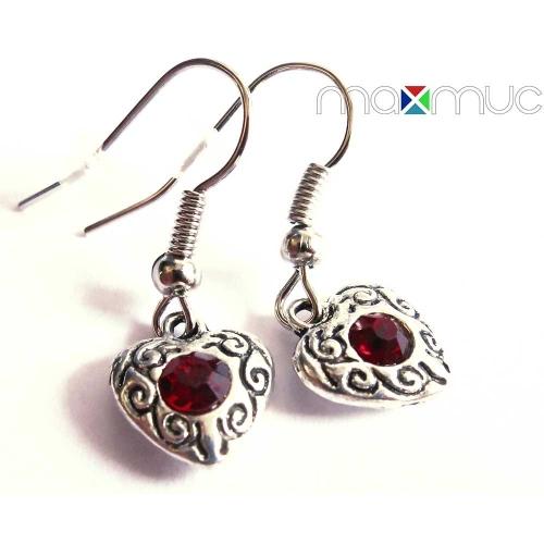 Silberfarbene Herz Ohrhänger mit rotem Stein - Trachtenschmuck Dirndlschmuck