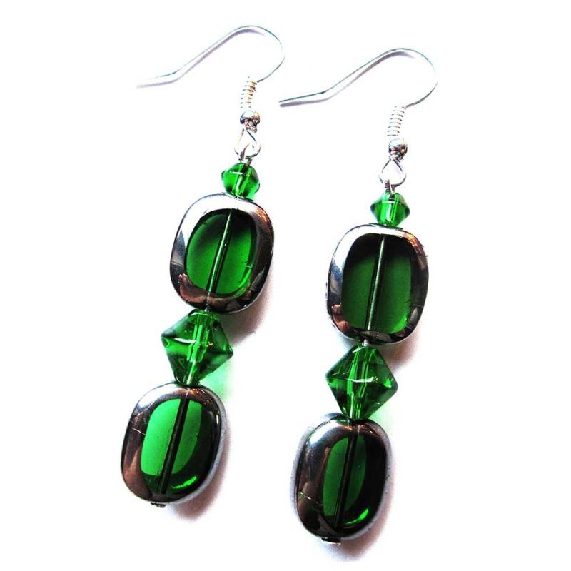 Grüne Ohrringe aus Kristallglas mit Silberrahmen