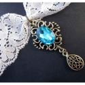 Weißes Halsband / Kropfband aus Spitze mit türkis Stein