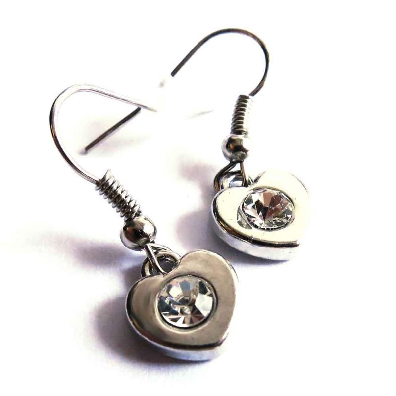 Silberfarbene Herz Ohrhänger mit transparentem Strass Stein - Trachtenschmuck Dirndlschmuck